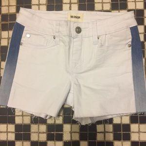 Hudson white shorts with Denim stripe inserts.